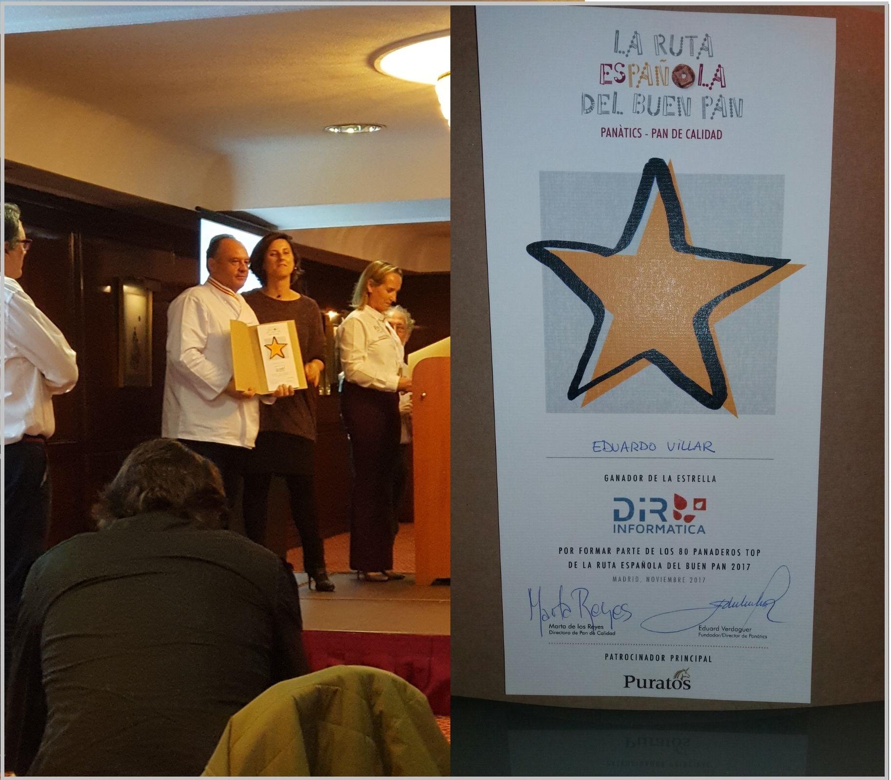 Eduardo Villar, panadero de Horno Arguiñano, ha sido galardonado con la Estrella Dir-Informática como uno de los 80 panaderos TOP