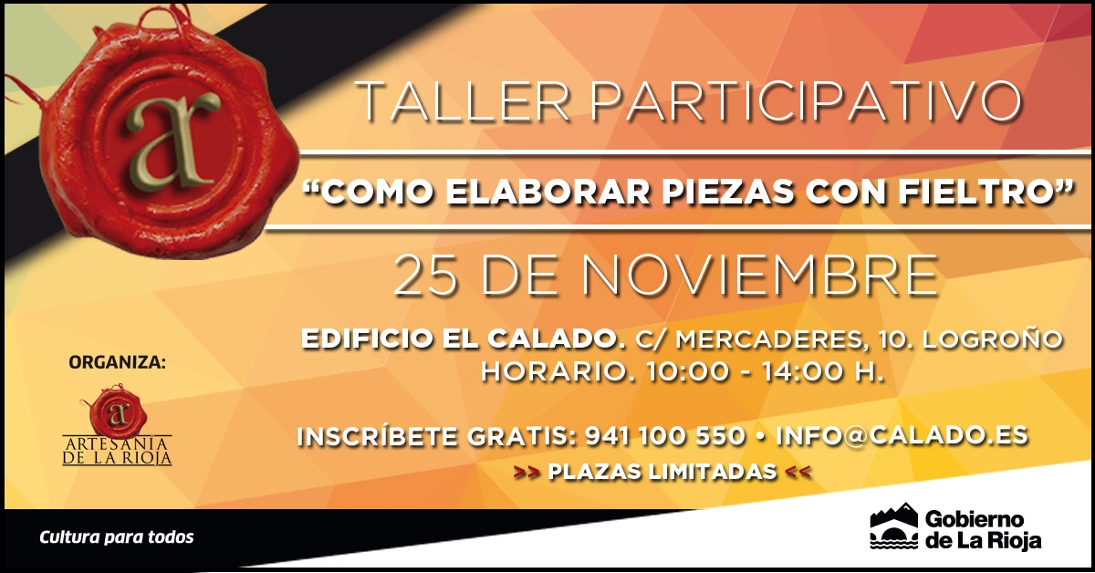 El sábado 25 de noviembre tendrá lugar el tercer y último Taller gratuito de difusión de la artesanía programado por el Gobierno de La Rioja